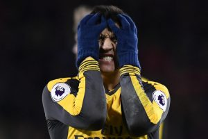 Arsenal's Alexis Sanchez looking very unhappy