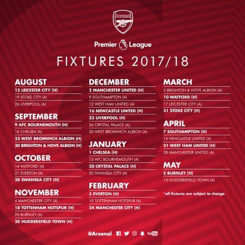 Arsenal fixtures 2017