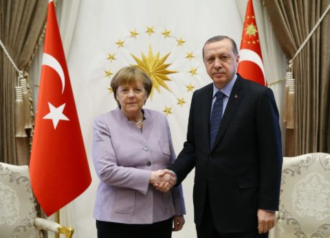 The German President Angela Merkel with Erdogan