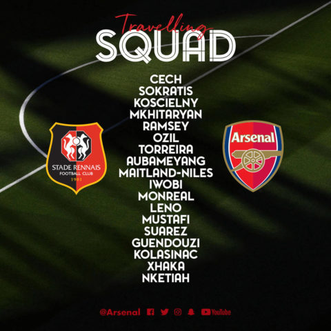 Europa League: Arsenal squad to face Rennes revealed