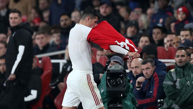 Image result for xhaka shirt throw