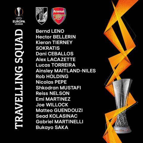 Vitoria v Arsenal Squad